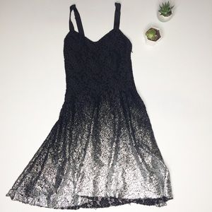 Free People XSmall Black Silver Lace Holiday Dress